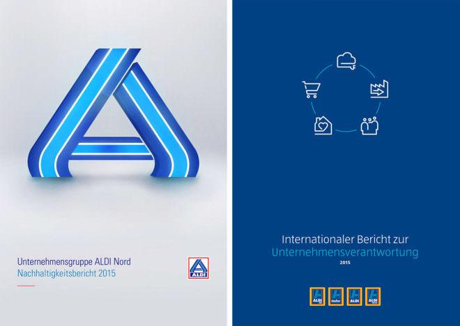 Cover der Nachhaltigkeitsberichte von ALDI Nord und ALDI Süd
